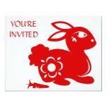 "CHINESE ZODIAC RABBIT PAPERCUT ILLUSTRATION 4.25"" X 5.5"" INVITATION CARD"