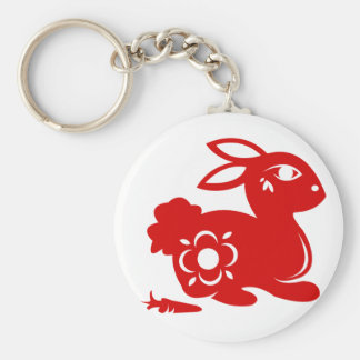 CHINESE ZODIAC RABBIT PAPERCUT ILLUSTRATION KEYCHAIN
