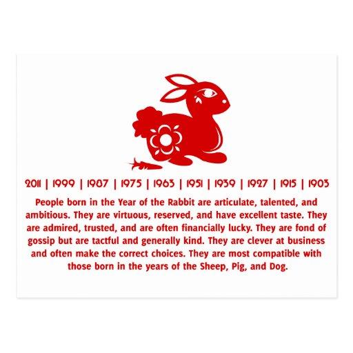 Chinese Zodiac Rabbit Papercut Illustration Postcard Zazzle