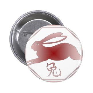 chinese zodiac rabbit pinback button