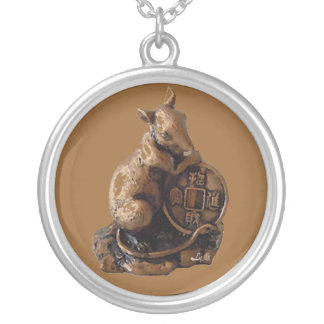 CHINESE ZODIAC  RAT SILVER PLATED NECKLACE