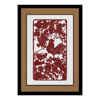 Chinese Zodiac Rooster Papercut Scene Poster