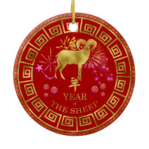 Chinese Zodiac Sheep Red/Gold ID542 Ceramic Ornament
