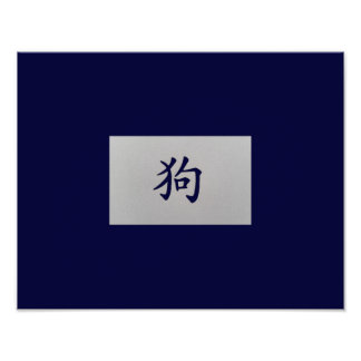 Chinese zodiac sign Dog blue Poster