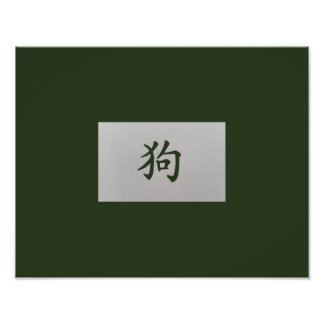 Chinese zodiac sign Dog green Poster