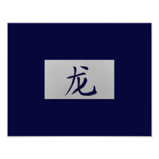 Chinese zodiac sign Dragon blue Poster