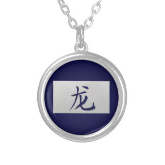 Chinese zodiac sign Dragon blue Silver Plated Necklace