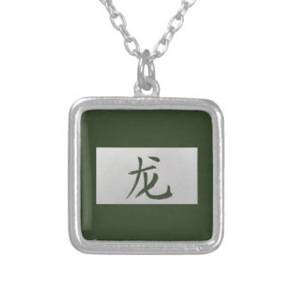 Chinese zodiac sign Dragon green Silver Plated Necklace