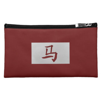 Chinese zodiac sign Horse red Cosmetic Bag