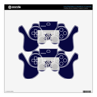 Chinese zodiac sign Monkey blue PS3 Controller Skins