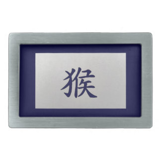 Chinese zodiac sign Monkey blue Rectangular Belt Buckle