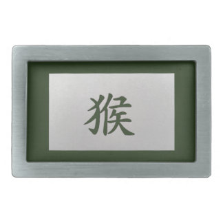 Chinese zodiac sign Monkey green Rectangular Belt Buckle