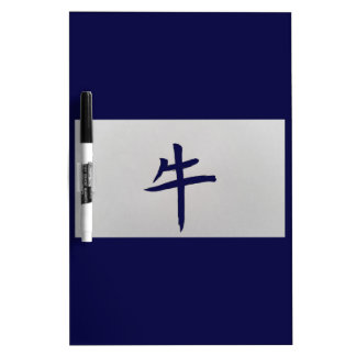 Chinese zodiac sign Ox blue Dry Erase Board