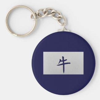 Chinese zodiac sign Ox blue Keychain