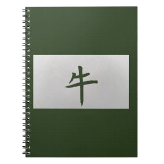 Chinese zodiac sign Ox green Spiral Notebook