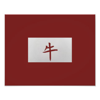 Chinese zodiac sign Ox red