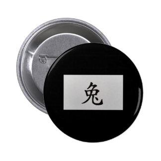 Chinese zodiac sign Rabbit black Button