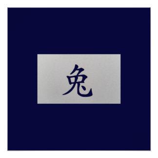 Chinese zodiac sign Rabbit blue