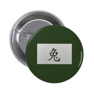 Chinese zodiac sign Rabbit green Button