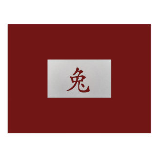 Chinese zodiac sign Rabbit red Postcard