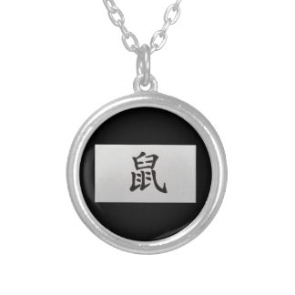 Chinese zodiac sign Rat black Silver Plated Necklace