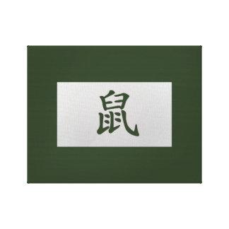 Chinese zodiac sign Rat green Canvas Print