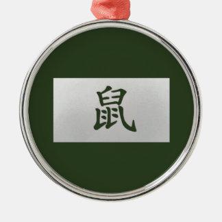 Chinese zodiac sign Rat green Metal Ornament