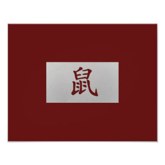Chinese zodiac sign Rat red Poster