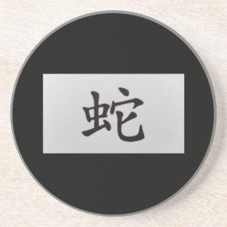 Chinese zodiac sign Snake black Drink Coaster