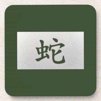 Chinese zodiac sign Snake green Beverage Coaster