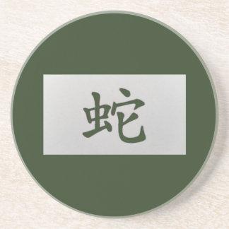 Chinese zodiac sign Snake green Coaster
