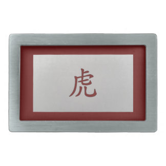 Chinese zodiac sign Tiger red Rectangular Belt Buckle