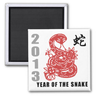 Chinese Zodiac Snake 2013 2 Inch Square Magnet