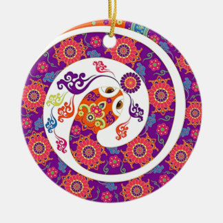 Chinese Zodiac Snake Colorful Series Double-Sided Ceramic Round Christmas Ornament