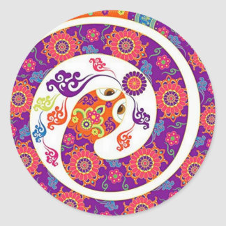 Chinese Zodiac Snake Colorful Series Round Sticker