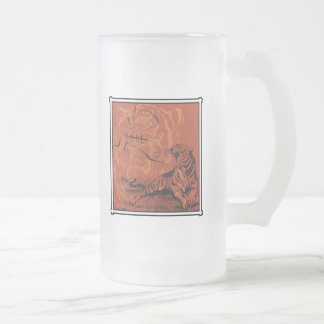 Chinese Zodiac Tiger Gift Frosted Glass Beer Mug