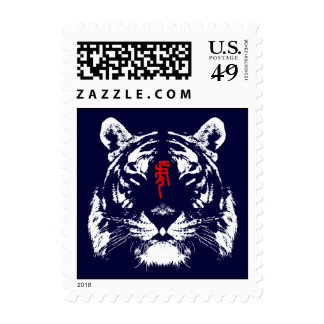 Chinese Zodiac Tiger in Kanji Postage