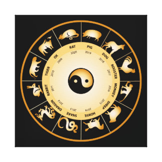 Chinese Zodiac Wheel Canvas Print