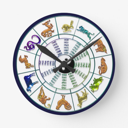 88ccef7ad Chinese Zodiac Wheel, Chinese New Year Round Clock | Zazzle.com