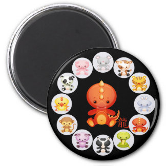 Chinese Zodiac Year of the Dragon 2 Inch Round Magnet