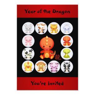 Chinese Zodiac Year of the Dragon Birthday Party Invitation