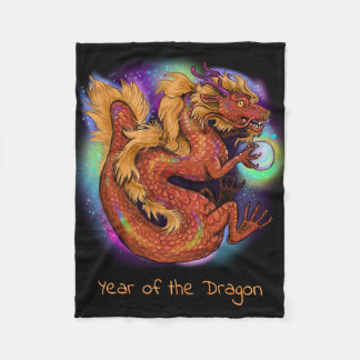 Chinese Zodiac Year of the Dragon Fleece Blanket