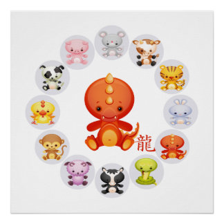 Chinese Zodiac Year of the Dragon on White Poster