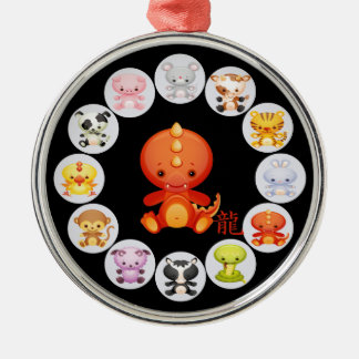 Chinese Zodiac Year of the Dragon Round Metal Christmas Ornament