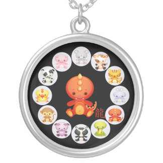Chinese Zodiac Year of the Dragon Round Pendant Necklace