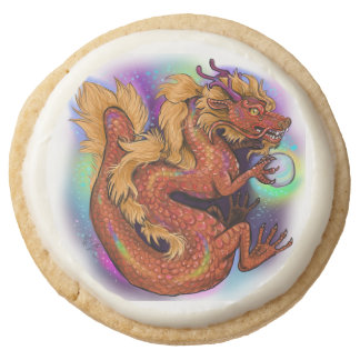 Chinese Zodiac Year of the Dragon Round Shortbread Cookie