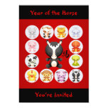 """Chinese Zodiac Year of the Horse Birthday Party 5"""" X 7"""" Invitation Card"""