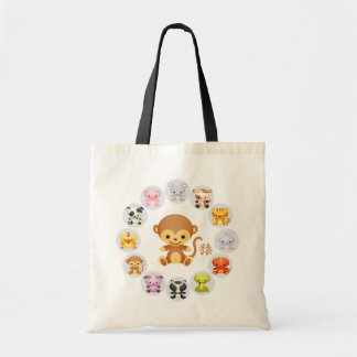 Chinese Zodiac Year of the Monkey Round Canvas Bags