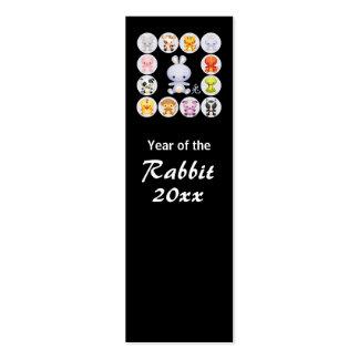 Chinese Zodiac Year of the Rabbit Bookmark Mini Business Card