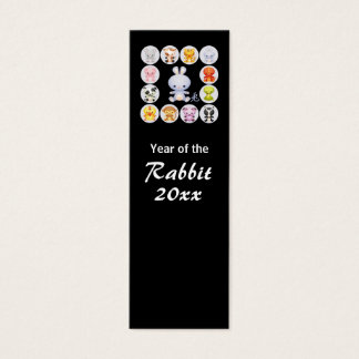 Chinese Zodiac Year of the Rabbit Bookmark Mini Business Card